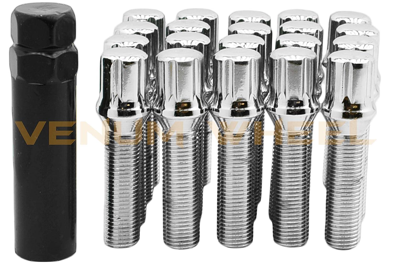 40 MM Shank Length Wheel Bolt 2 Keys Extended Length - for All Mercedes Benz Vehicles W// 14x1.5 Thread Pitch 20 Pc Chrome 14x1.5B Spline Tuner Lug Bolts for Aftermarket Wheels
