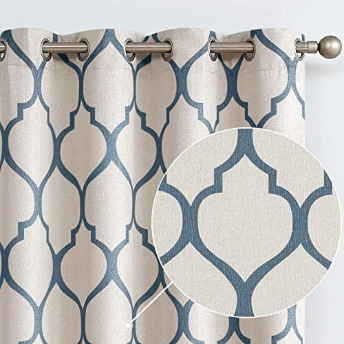 Cheap jinchan Moroccan Tile Linen Textured Curtains Printed Curtain Panel Bedroom Living Room Thermal Insulated Window Treatment 1 Panel 63 Inch Blue window curtain panel for sale