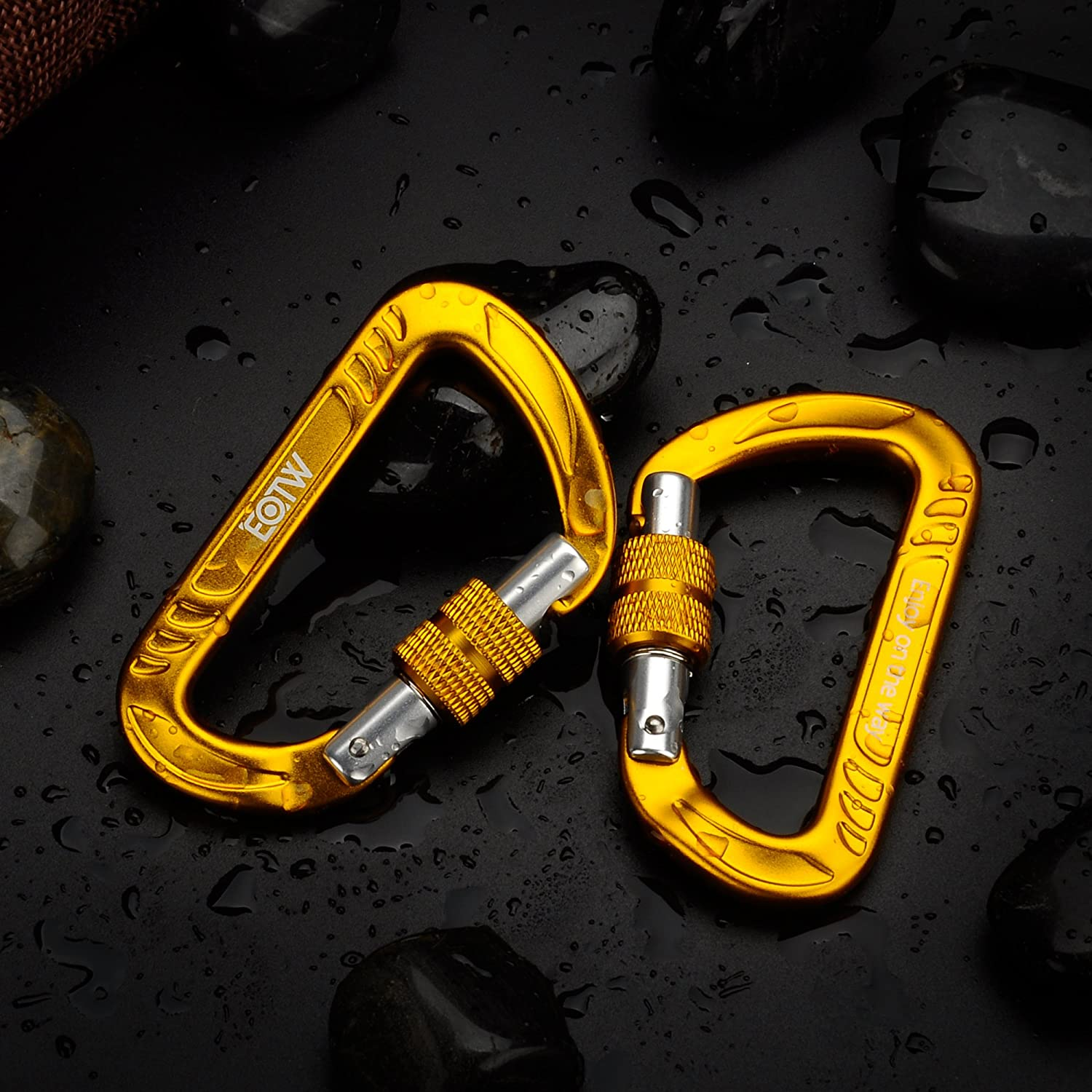 EOTW Aluminum Carabiner Keychain Quickdraw D-Ring Spring Snap Key Chain Clip Hook Lock Buckle Pack D Shape Hanger Holder Premium Utility Outdoor Equipment for Haning Hammock Camping