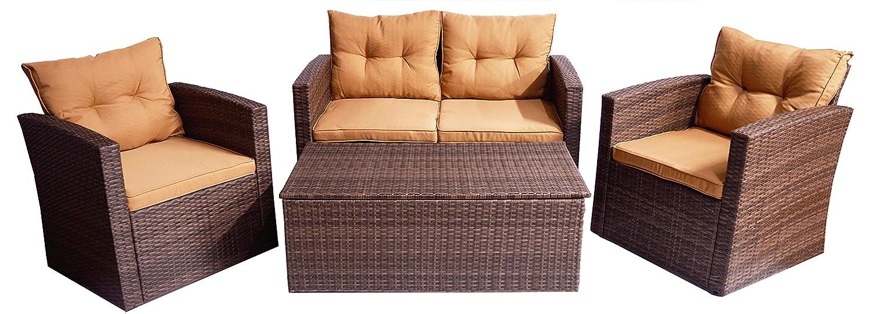 braunes rattan gartenm bel set aus polywood inkl wasserabweisenden kissen mit zwei sesseln. Black Bedroom Furniture Sets. Home Design Ideas