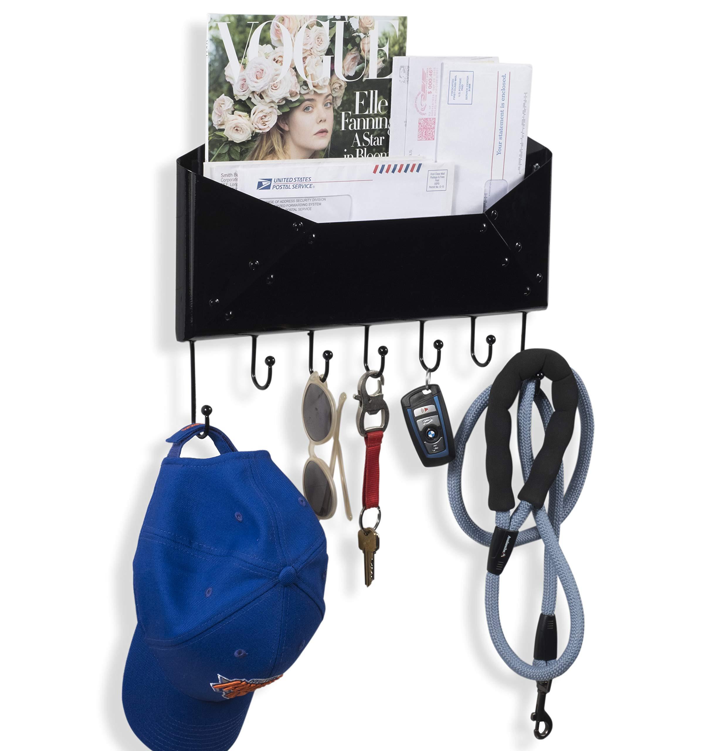 Wallniture Set of 2 Vesti Entryway Organizer – Wall Mounted Metal Mail Sorter – Magazine Holder with Hooks Black