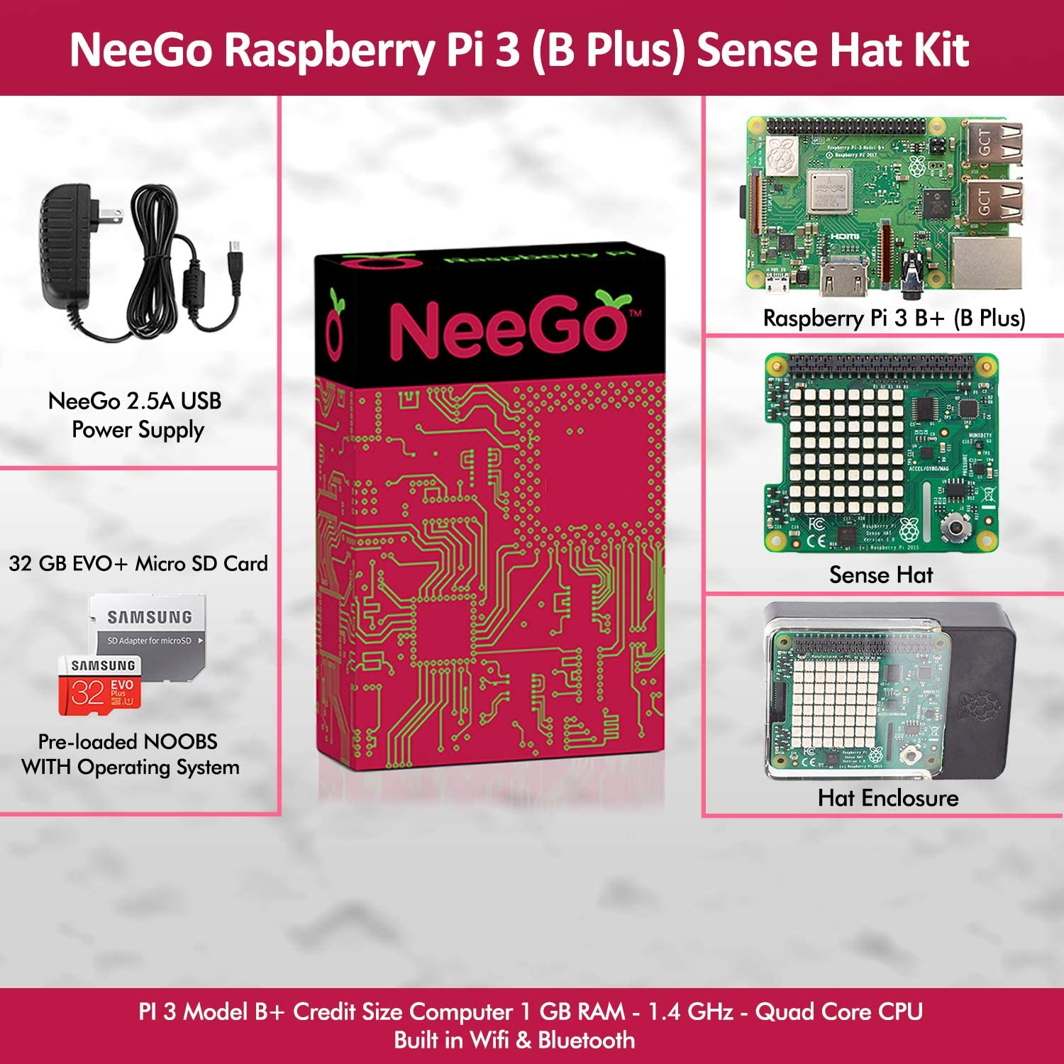 32G SD Card w//Preloaded Noobs Operating System Hat Enclosure /& 6-Foot 2.5A Power Supply NeeGo Bundle 5-Piece Build Your Own Computer Set Includes Raspberry Pi 3 B+ Motherboard Sense HAT Add-On
