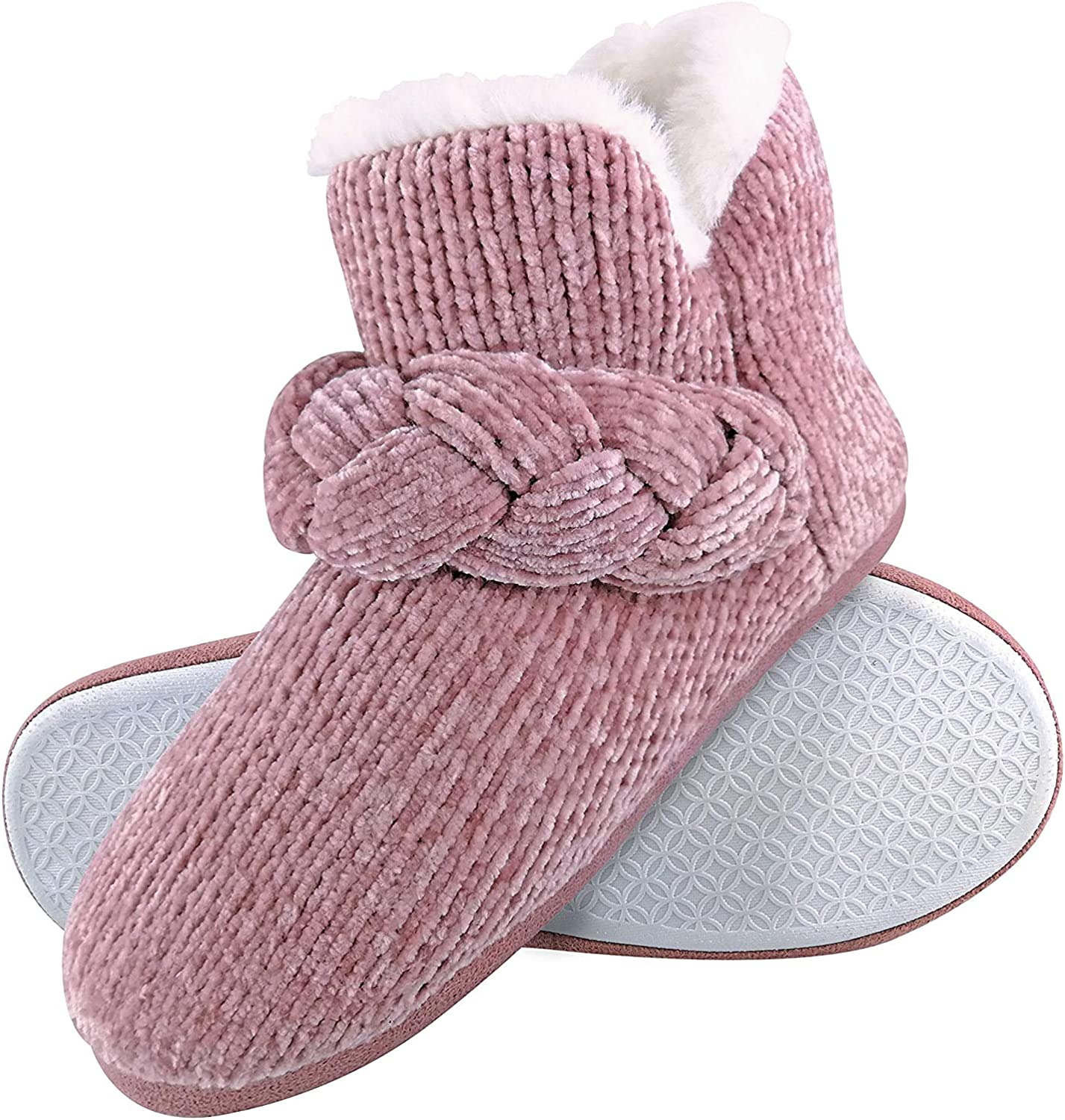 Dunlop - Womens Cute High Top Faux Fur Indoor Slipper Ankle Booties House Boots