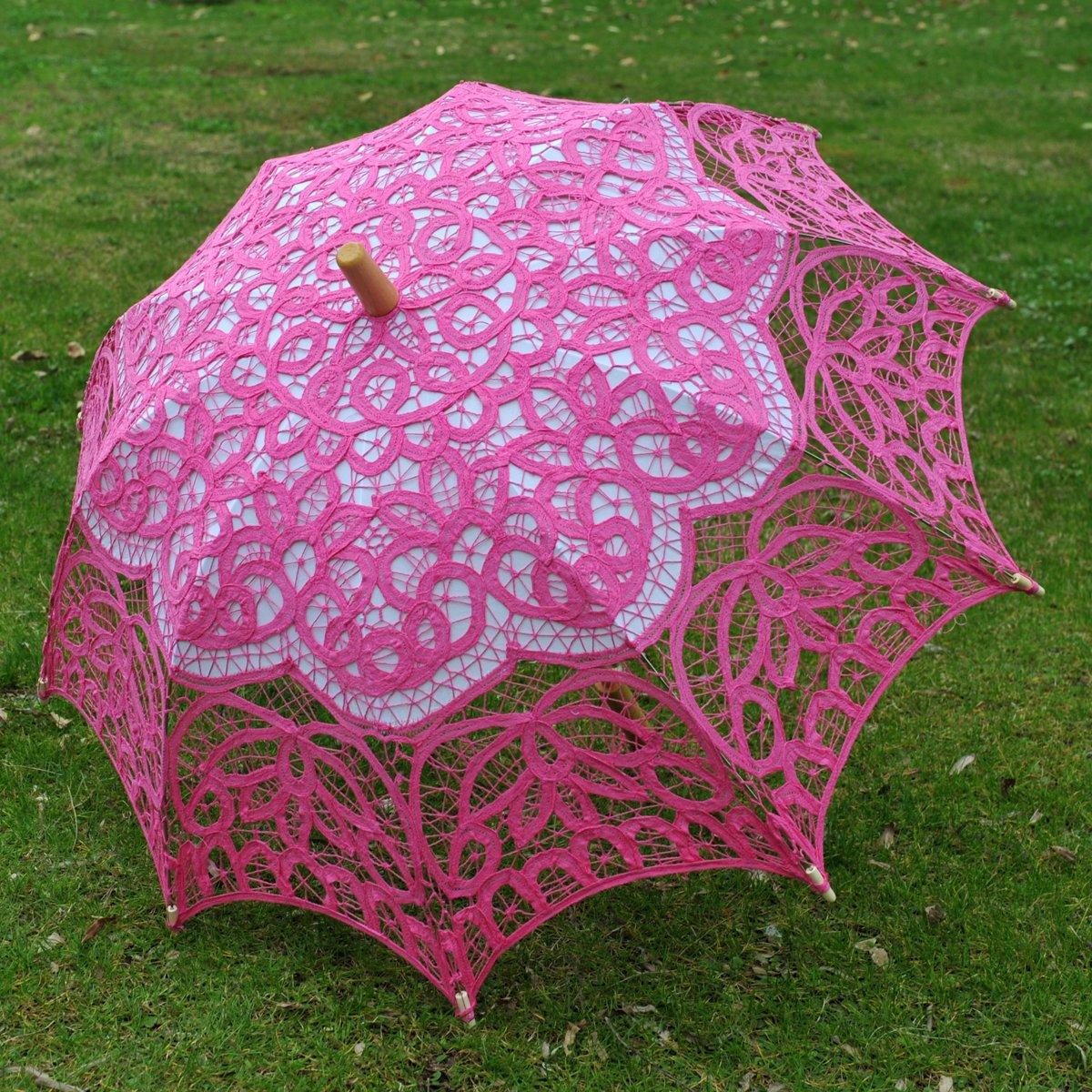 Topwedding Classic Cotton Lace Parasol Umbrella Bridal Shower Decoration, Fuschia by Topwedding (Image #3)