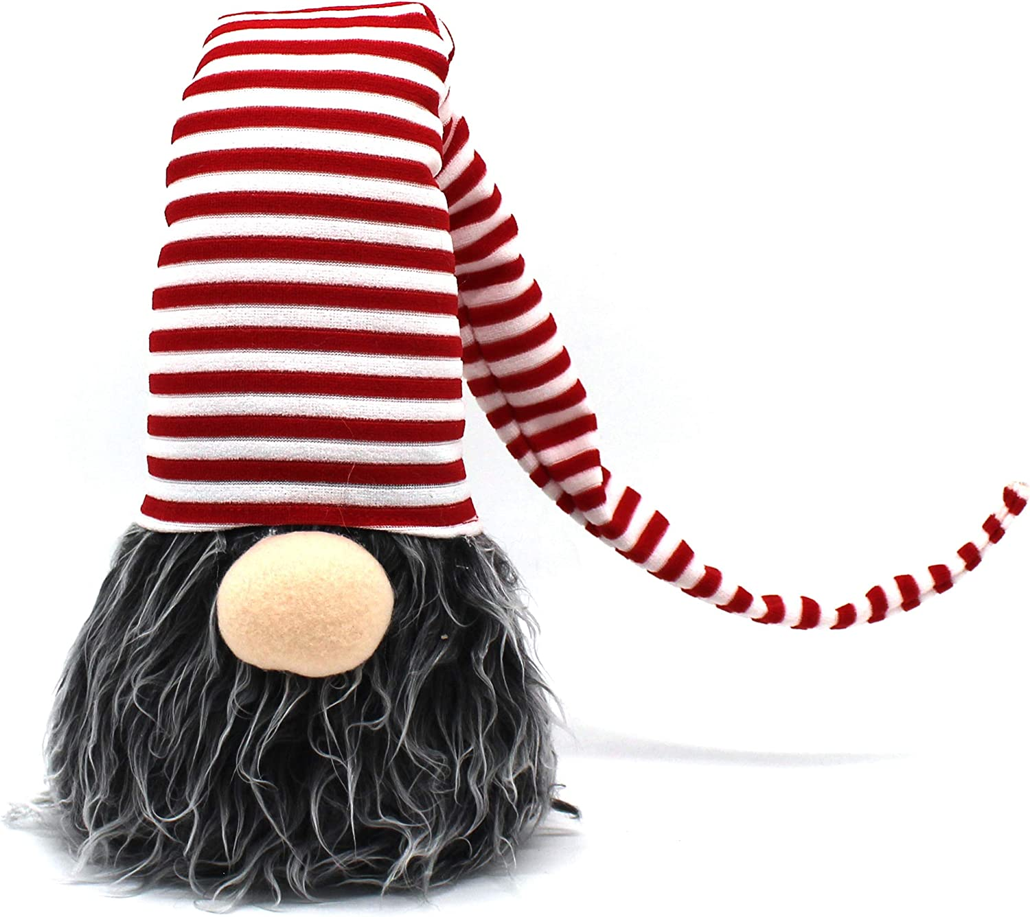 CVHOMEDECO. Handmade Swedish Gnome Plush Figurines Swedish Tomte for Home Décor, Winter Ornaments, Christmas and Holiday Party Decorations, 26 Inches, Stripe Hat