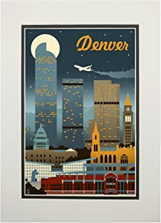 product image for Denver, Colorado - Retro Skyline (11x14 Double-Matted Art Print, Wall Decor Ready to Frame)