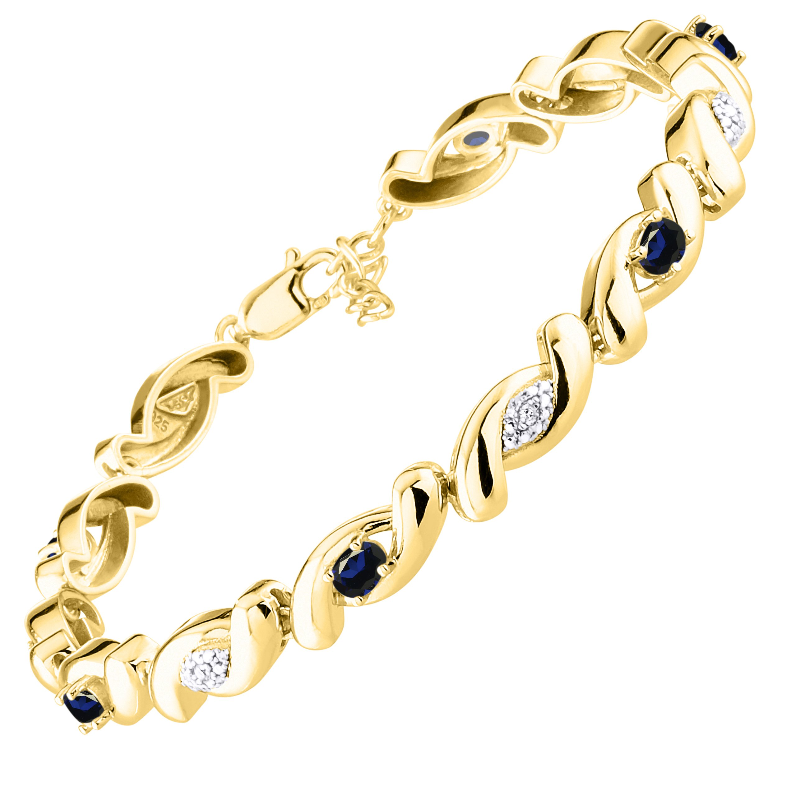 Stunning Sapphire & Diamond Tennis Bracelet Set in Yellow Gold Plated Silver - Adjustable to fit 7'' - 8'' Wrist by Rylos