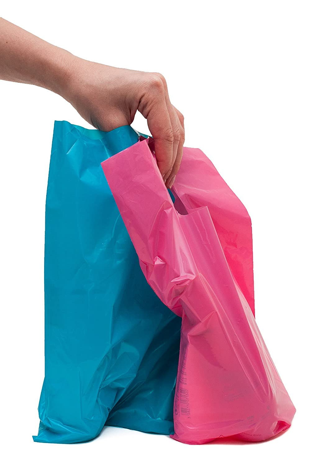 "200 small glossy pink & teal plastic merchandise bags w/die cut handles 9x12"", retail shopping bags perfect for small shops & stores, trade shows, garage sales & events"