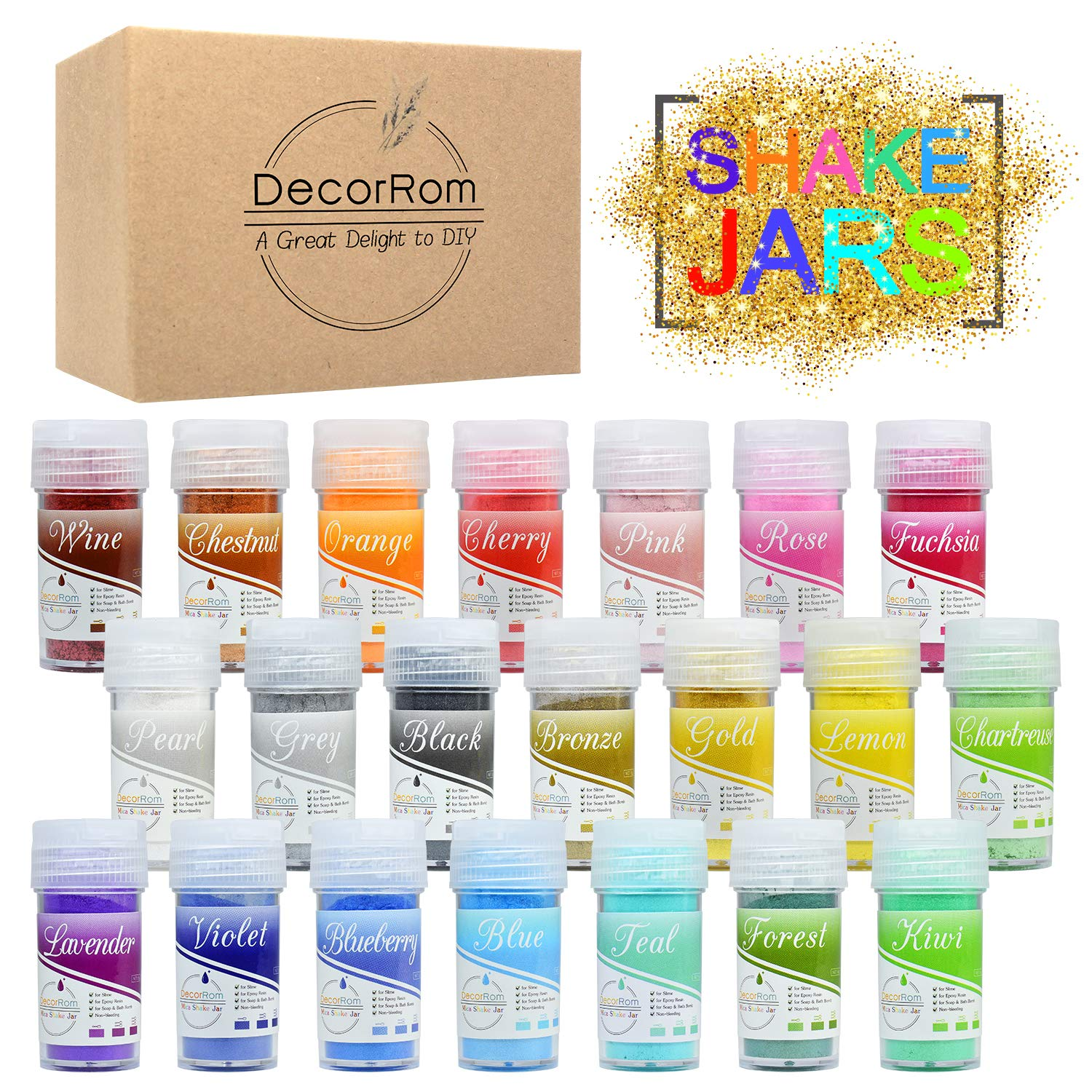 Epoxy Resin Color Pigment - 21 Color Mica Powder Shake Jars, Cosmetic Grade Epoxy Resin Dye Powder, Natural Slime Coloring Soap Dye Colorant for Soap Making Supplies,Nail Art,Bath Bomb,Slime Supplies