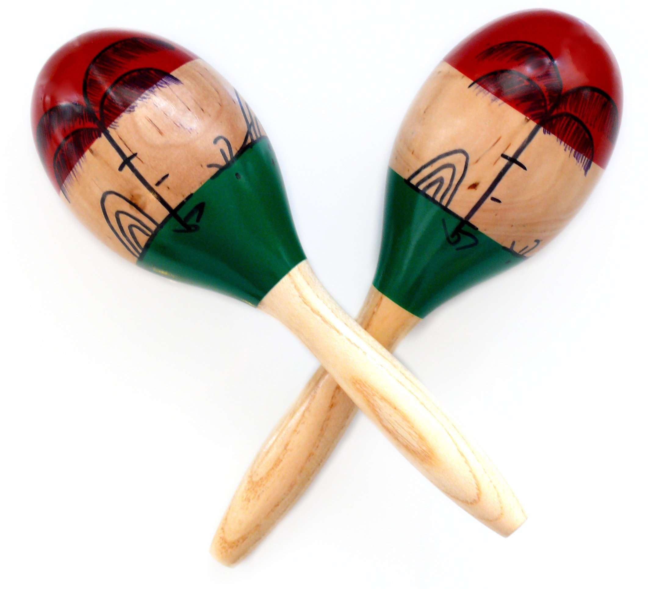 MARACAS & LARGE REAL WOOD RUMBA SHAKERS Set of 2 - Latin Hand Percussion With Full, Bright Vibrant Sound Quality and Great Musical Instrument Stimulating Salsa Rhythm - Rattle With Party Fun by Happy Maracas