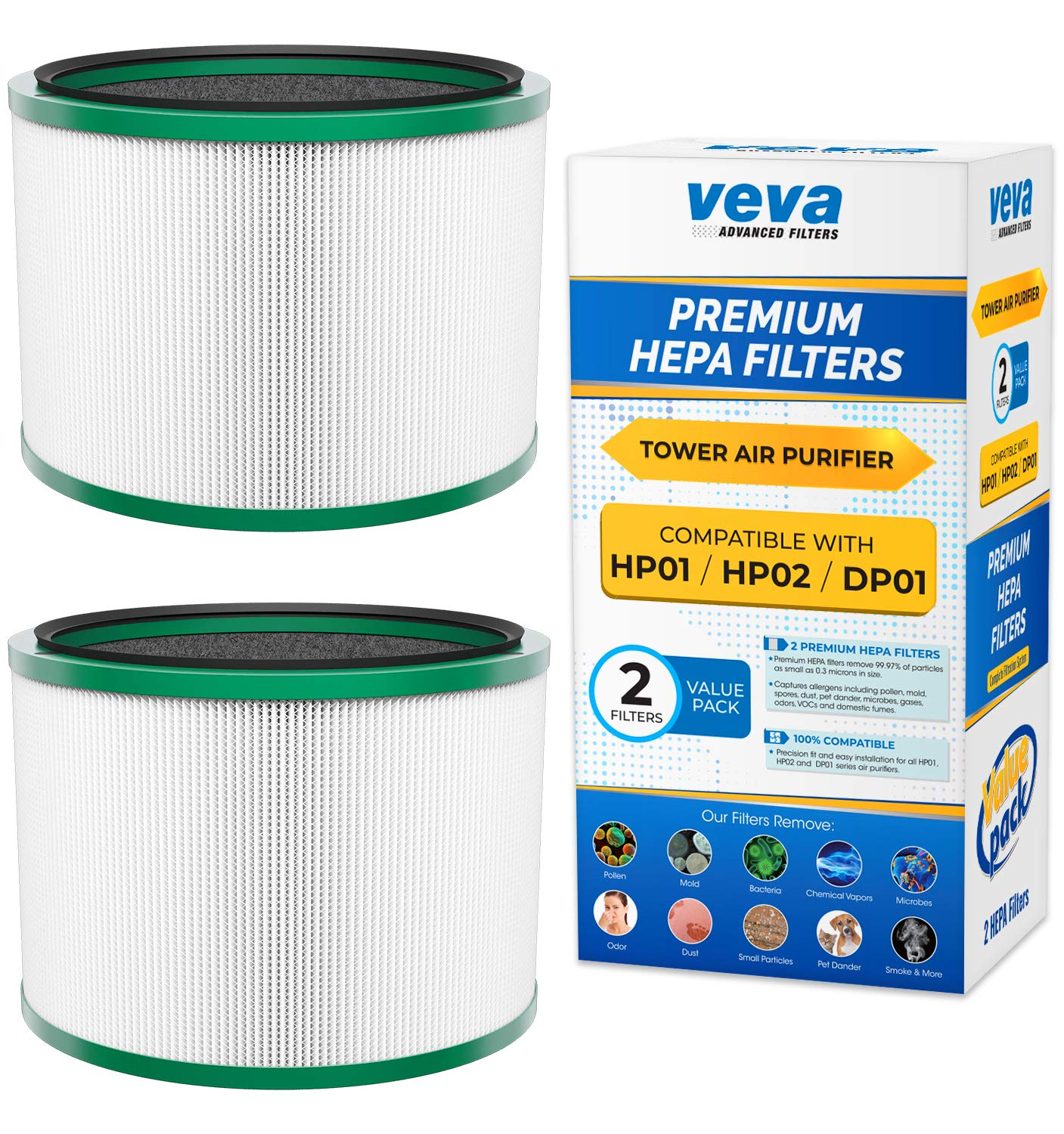 VEVA Premium HEPA Replacement Filter 2 Pack Compatible with All Dyson Pure Cool Link DP01, DP02 and Dyson Pure Hot + Cool Link HP01, HP02, Part # 968125-03# 305214-01# 305214-01 by VEVA