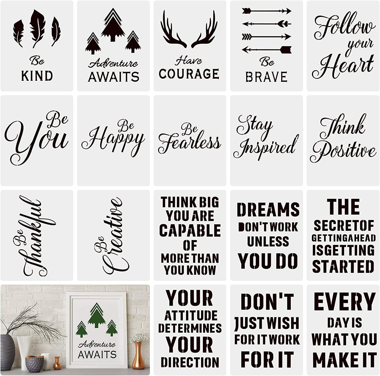 Inspirational Wall Art Décor, 18PCS Plastic Stencils Motivational Quote & Saying Reusable Positive Lettering Painting Poster Templates for DIY Drawing Projects
