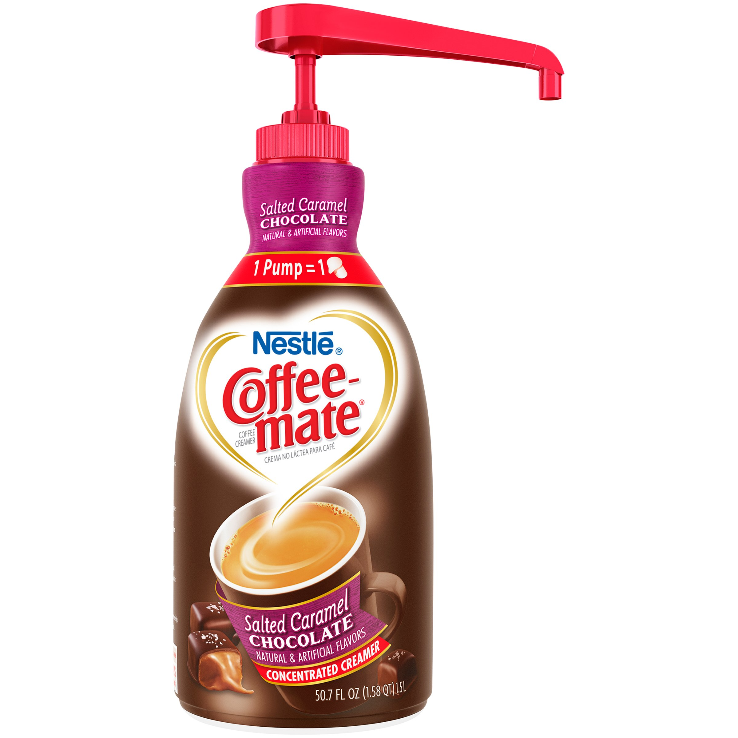 Nestle Coffee-mate Coffee Creamer, Salted Caramel Chocolate, liquid pump bottle, 50.7 Fl. Oz (Pack of 1) by Nestle Coffee Mate (Image #1)