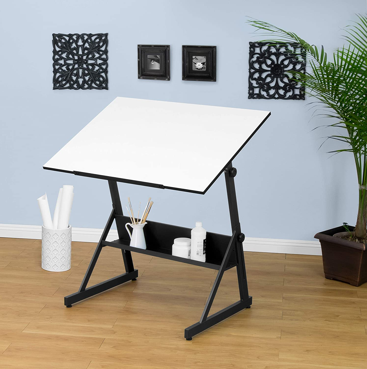 SD STUDIO DESIGNS Studio Designs 13344 Solano Adjustable Height Drawing Table with Angle Tilt Top from Flat to 80 Degrees, Charcoal White, Main Work Surface 41.5 W x 28 D, Black