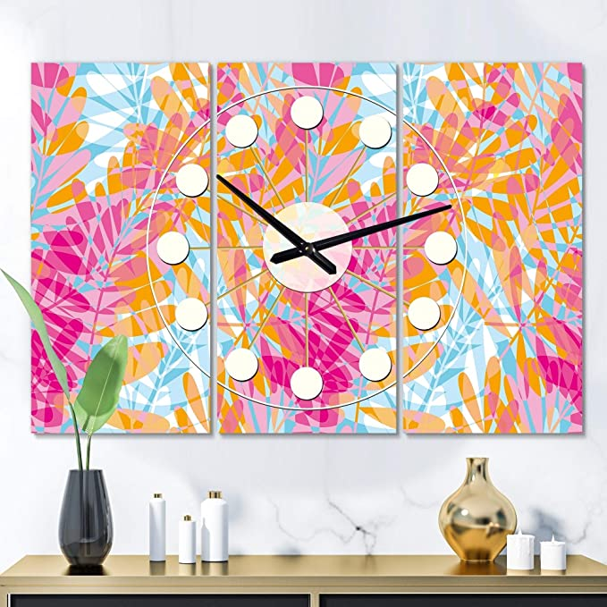 Retro Floral Pattern Iii Oversized Mid Century Wall Clock 3 Panels 36 In Wide X 28 High Purple Modern Contemporary Vintage Aluminum Steel Finish Battery Home Kitchen