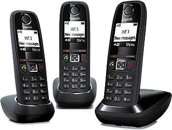 Gigaset AS405 Trio - Teléfono Inalámbrico, Pack 3 Unidades, Manos Libres, 100 Contactos, Pantalla gráfica iluminada 1.8