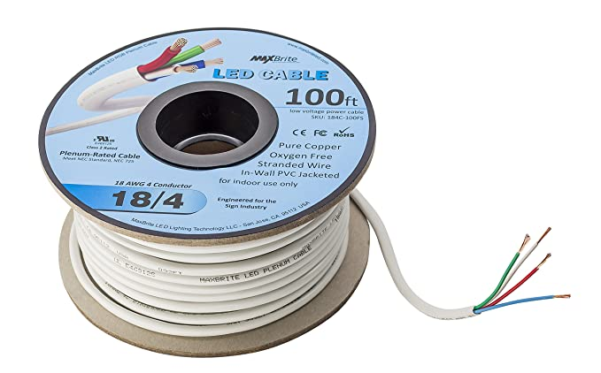 LED Cable 4 Conductor Jacketed In-Wall Speaker Wire UL/cUL Class 2 (100ft. Spool) - - Amazon.com