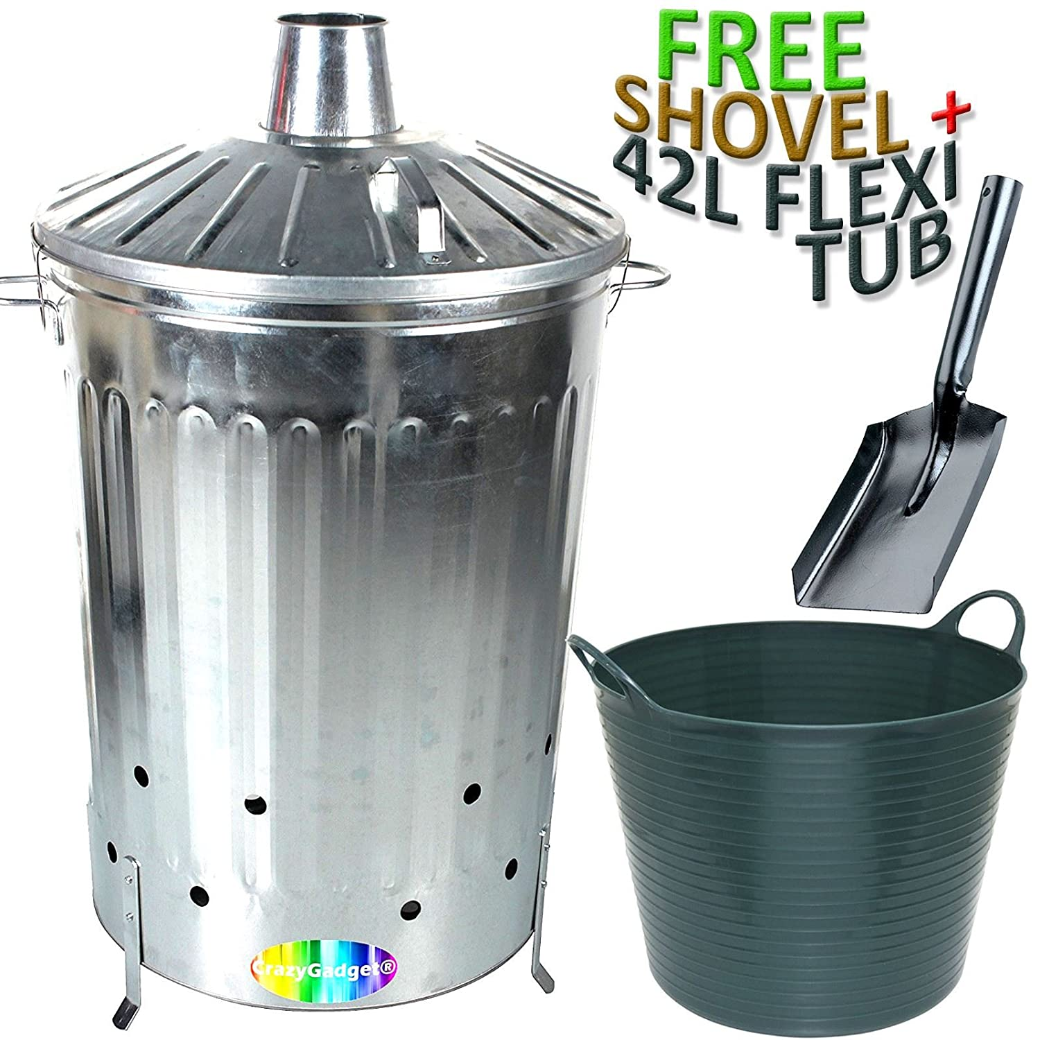 CrazyGadget® 125 Litre 125L Extra Large Galvanised Metal Incinerator Fire Burning Bin with Special Locking Lid + Free Ash Shovel + Free 42L Litre Plastic Flexi Tub ( Black )