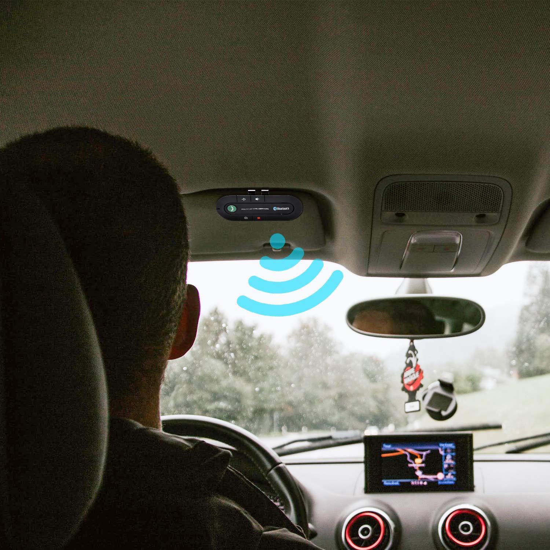 Vingo Manos Libres Bluetooth para Coche Bluetooth V4.2, Parasol, Apagado y activaci/ón autom/áticos