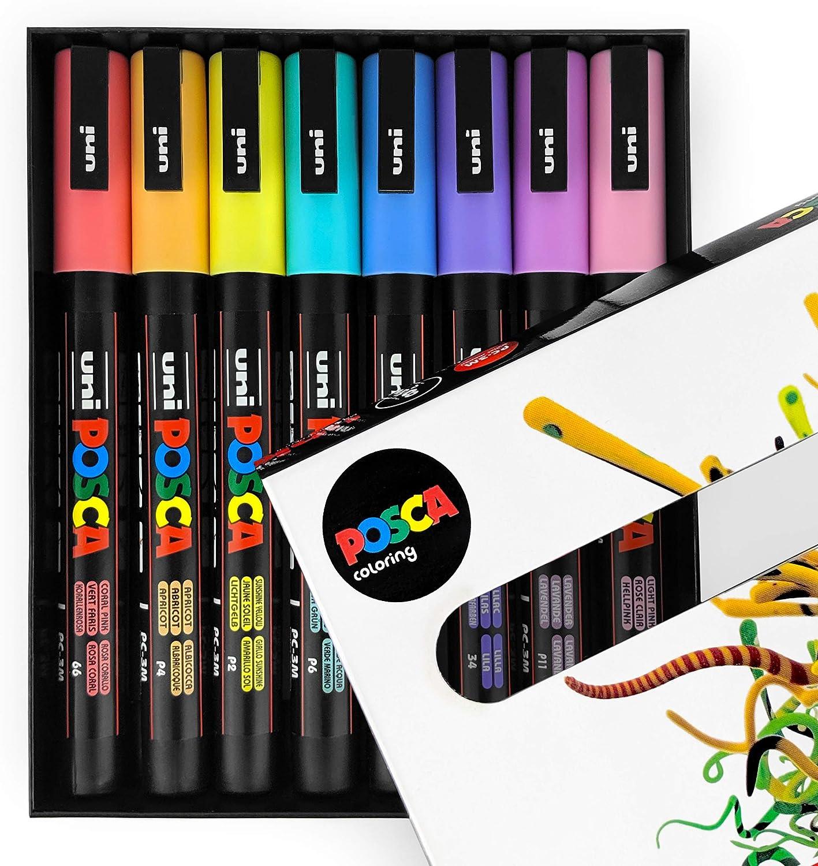 Uni POSCA PC-3M Art Paint Markers Pastel Tones Set of 8 In Gift Box