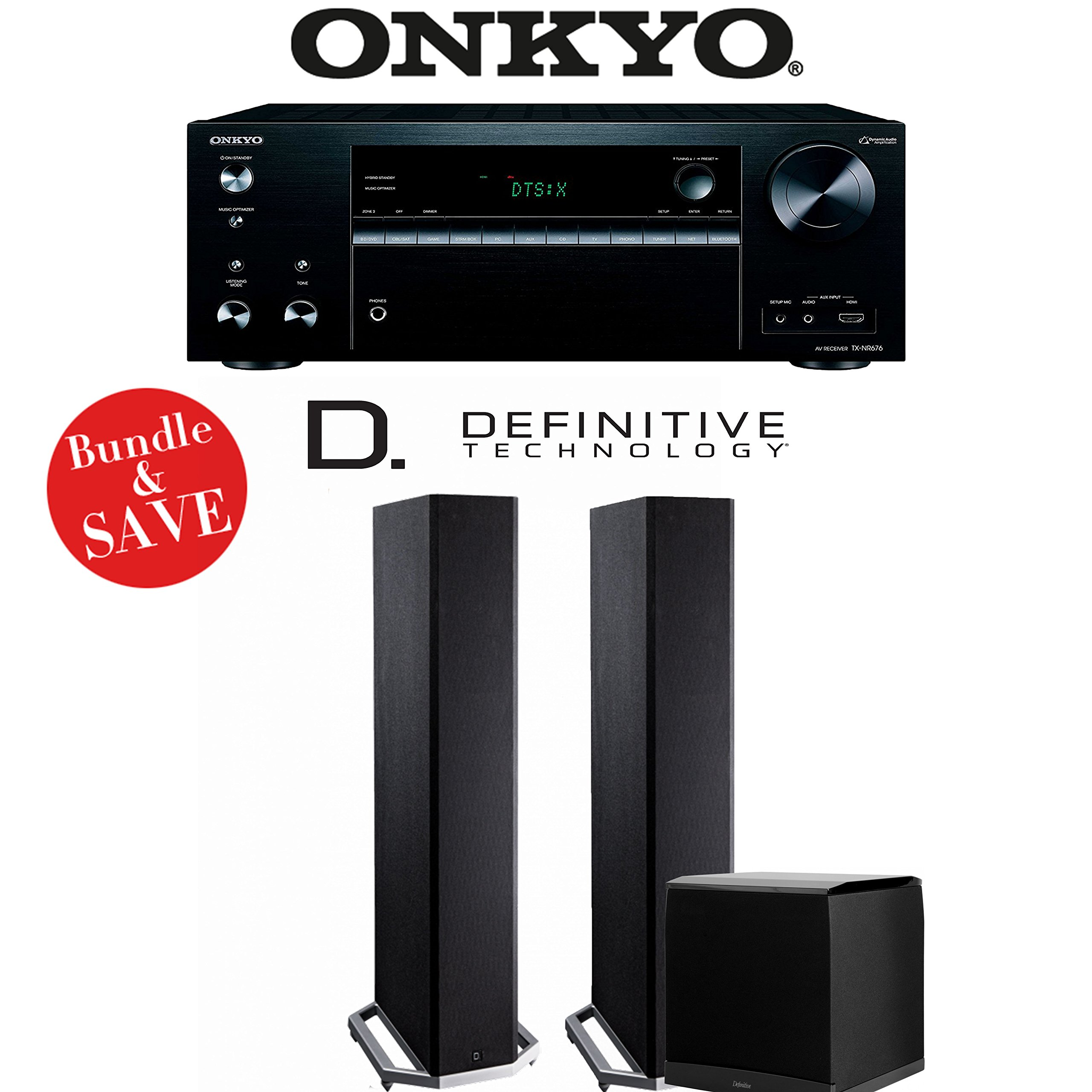Onkyo TX-NR676 7.2-Channel 4K Network A/V Receiver + Definitive Technology BP9020 + Definitive Technology SuperCube4000 - 2.1-Ch Home Theater Package by Definitive Technology