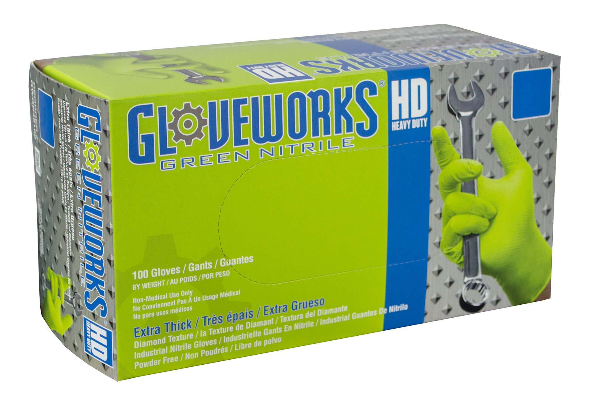 AMMEX - GWGN48100 - Nitrile Gloves - Gloveworks - HD, Disposable, Powder Free, 8 mil, XLarge, Green (Case of 1000)