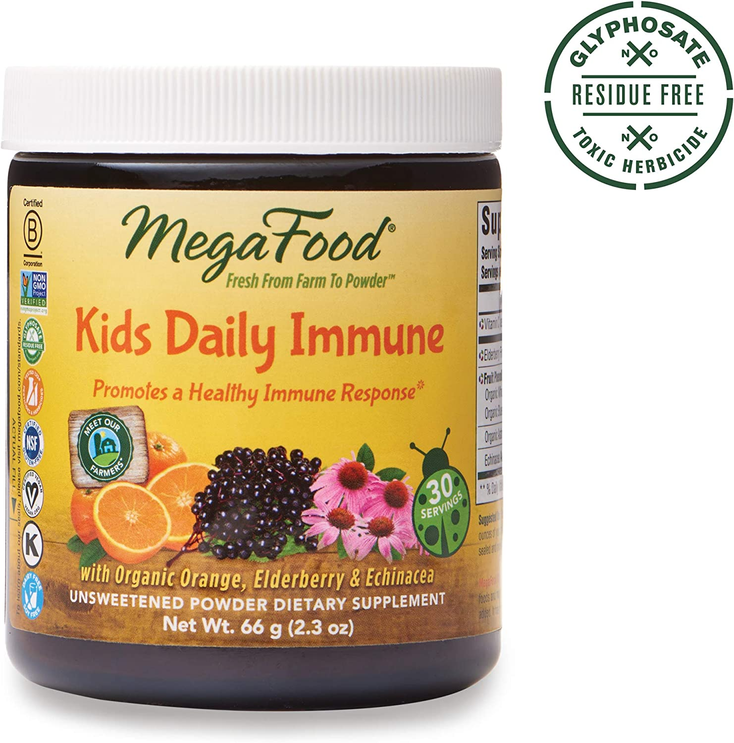 MegaFood, Kids Daily Immune Booster Powder, Promotes a Healthy Immune Response, Drink Mix Supplement, Gluten Free, Vegan,