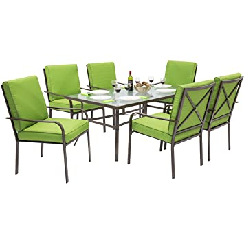Best Choice Products Outdoor Patio Furniture 7 Piece Steel Dining Table Set  And 6 Chairs