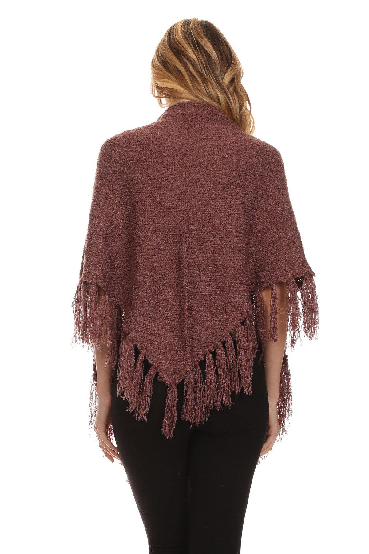 ICONOFLASH Women's Casual Sweater Knit Fringed Fashion Scarf Wrap, Mauve by ICONOFLASH (Image #4)