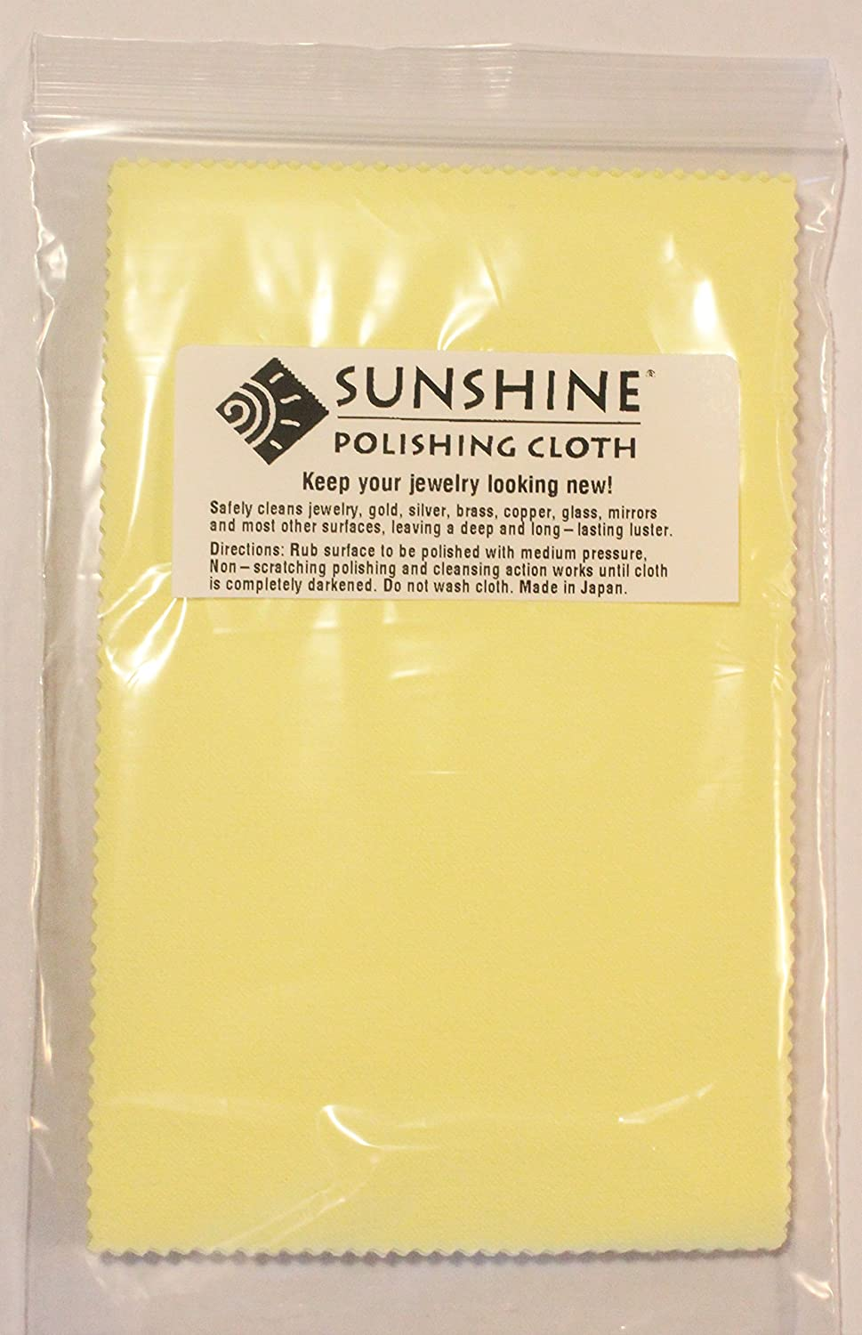 Gold 10 Sunshine Polishing Cloths for Sterling Silver Brass and Copper Jewelry in Envelopes