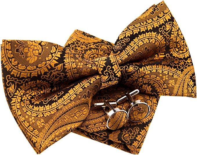 Various Colors Classic Paisley Pattern Woven Microfiber Pre-tied Bow Tie 5