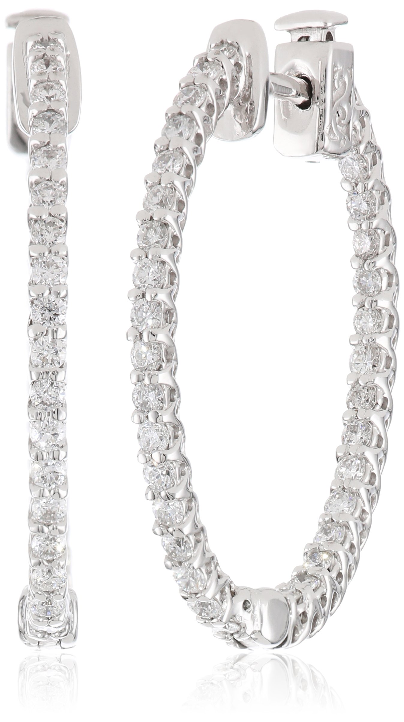 14kt White Gold Diamond Inside and Outside Lucida Set Oval Hoops, 1.1 cttw (H-I Color, I1 Clarity)