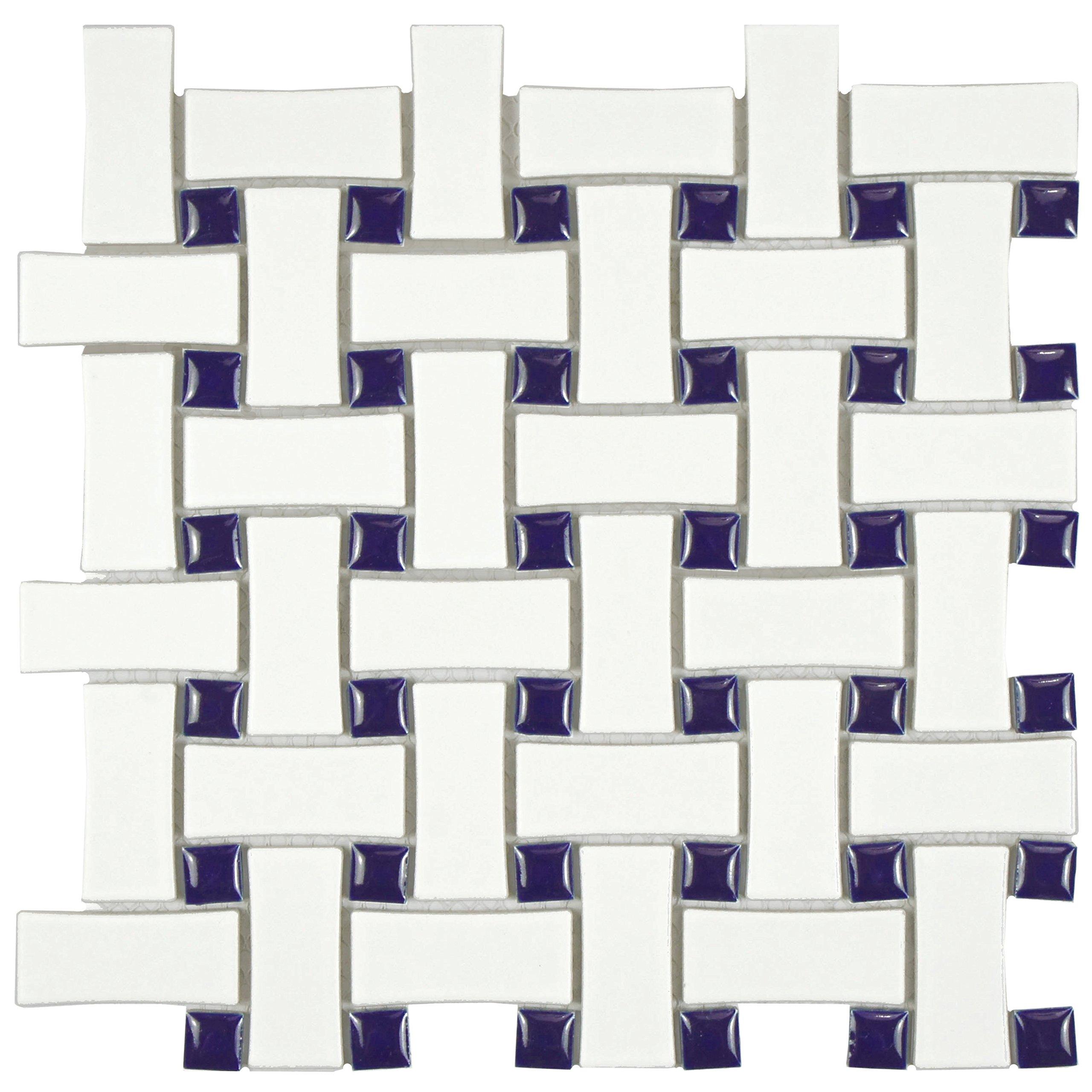 SomerTile FDXMBWWC Retro Basket Weave Glazed Porcelain Mosaic Floor and Wall Tile, 10.5'' x 10.5'', Matte White/Cobalt
