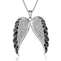 Sterling Silver Black and White Diamond Angel Wings Pendant Necklace (1/2 cttw, I-J Color, I2-I3 Clarity), 18""