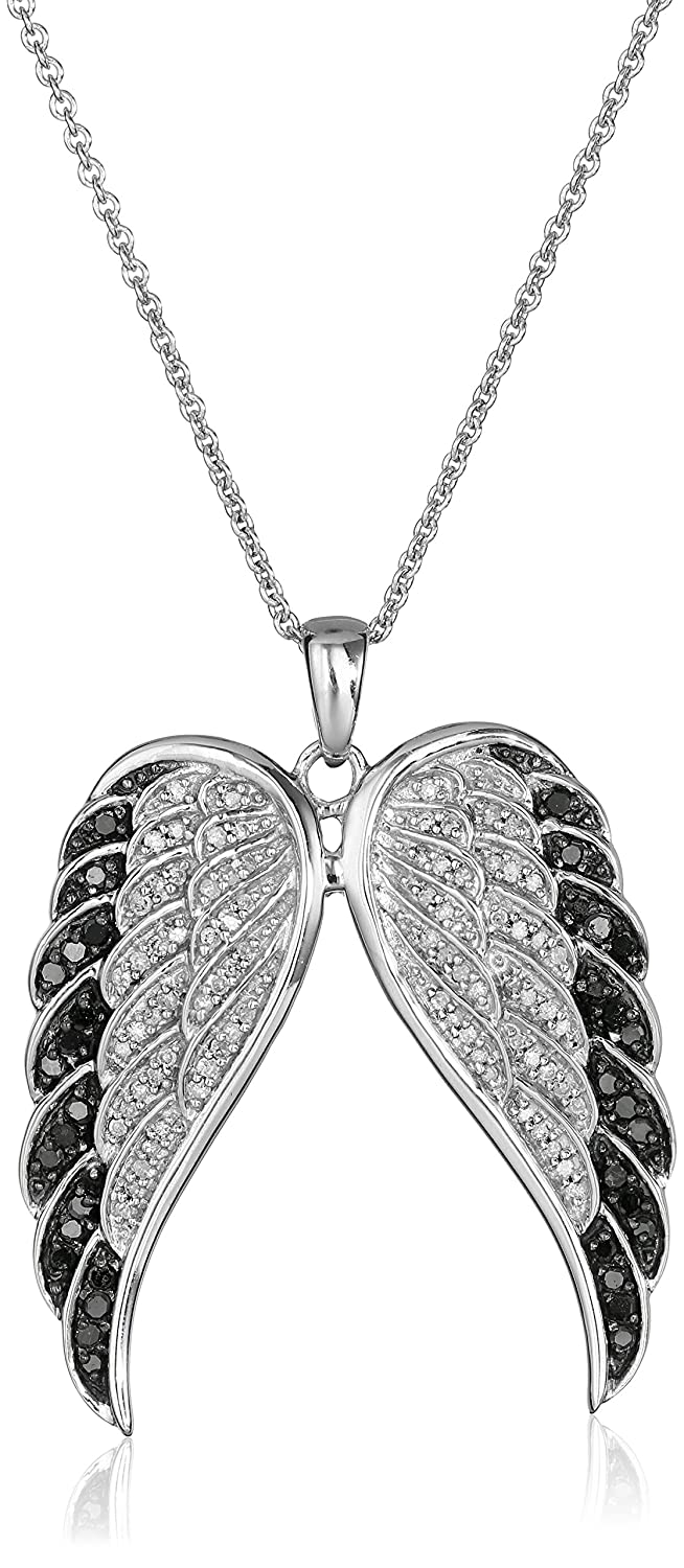 wish amethyst pendant necklace angel silver wing