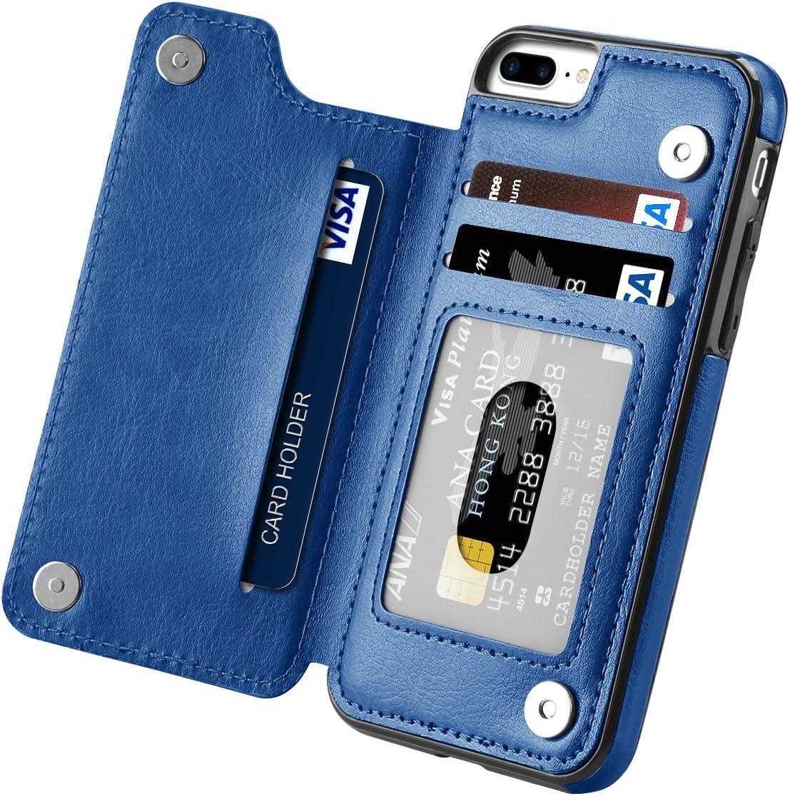 iPhone 7 Plus Case, iPhone 8 Plus Case, Hoofur Slim Fit Premium Leather Wallet Casae Card Slots Shockproof Folio Flip Protective Defender Shell for Apple iPhone 7 Plus (5.5 Inch) (Blue)