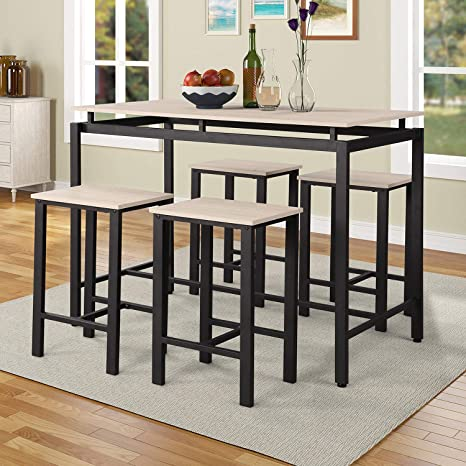 P PURLOVE 5Pcs Dining Set Modern Style Kitchen Table and 4 Chairs with  Metal Legs, Beige and Black
