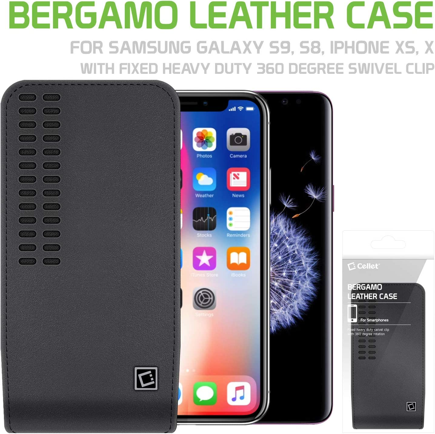 XS 8 7 6S 6 Samsung Galaxy S20 S10 S9 S8 S7 Google Pixel 4 3 2 1 Cellet Bergamo Leather Pouch Open Top Holster Case Heavy Duty 360 Swivel Belt Clip Compatible with Apple iPhone 11 Pro X