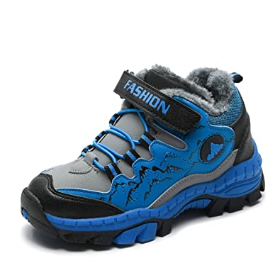 af1bfe8cd ZYLDK Kids Snow Boots Boys Winter Hiking Boots Climbing Shoes Snow Fur Lined  Childrens Trainers Outdoor Warm Boots School Waterproof: Amazon.co.uk: Shoes  & ...