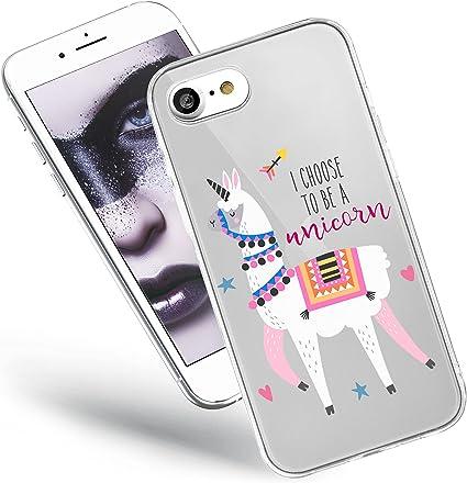 QULT Custodia Compatibile con Cover iPhone SE 2020, iPhone 7/8 Silicone Morbido Animali Trasparente Chiaro Cristallo Anti-Scratch Bumper Case con ...
