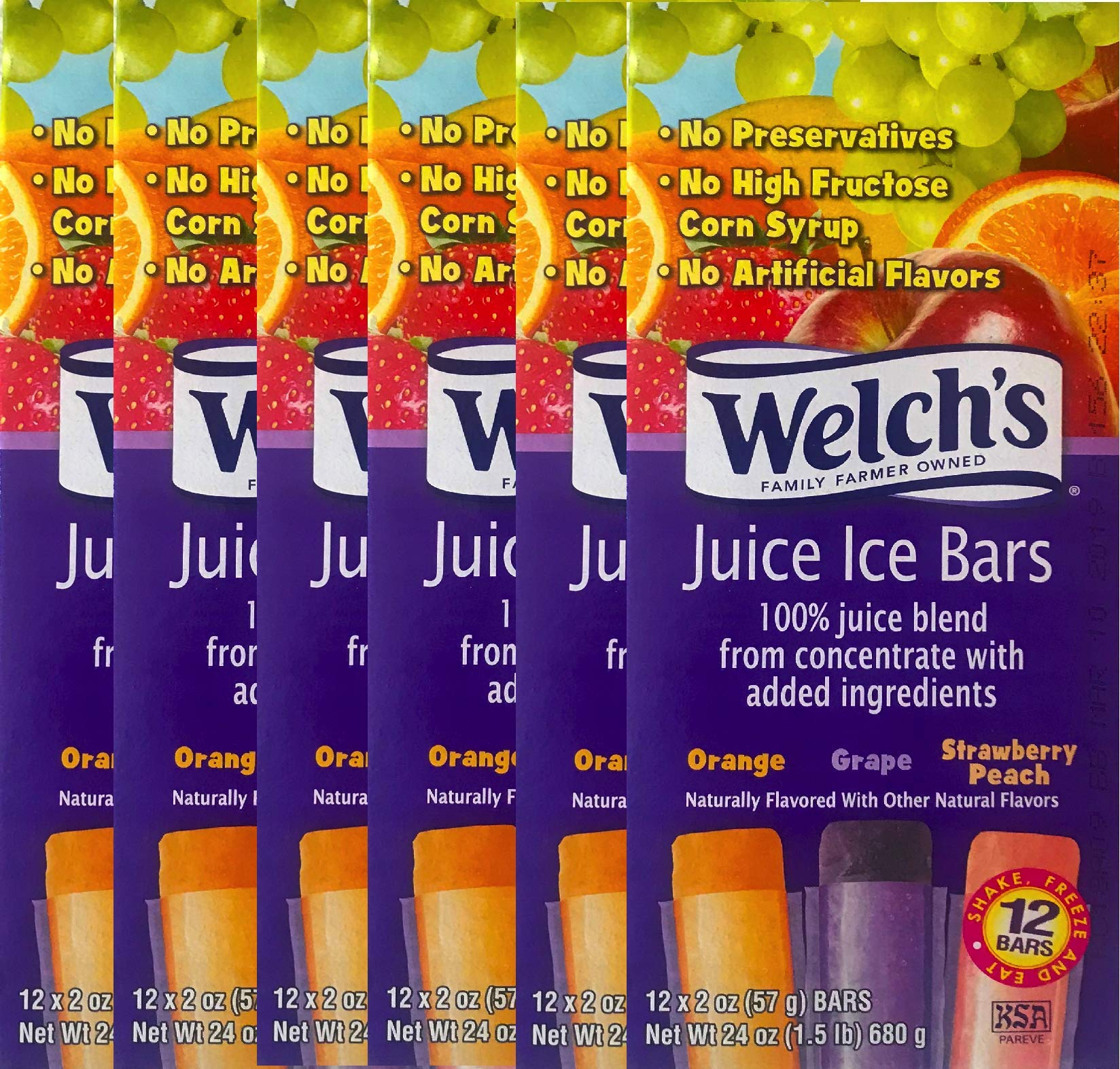NEW Welch's Freezer Pops Made With Real Fruit Juice Grape, Strawberry Peach & Cherry Flavored Net Wt 24 Oz (6)