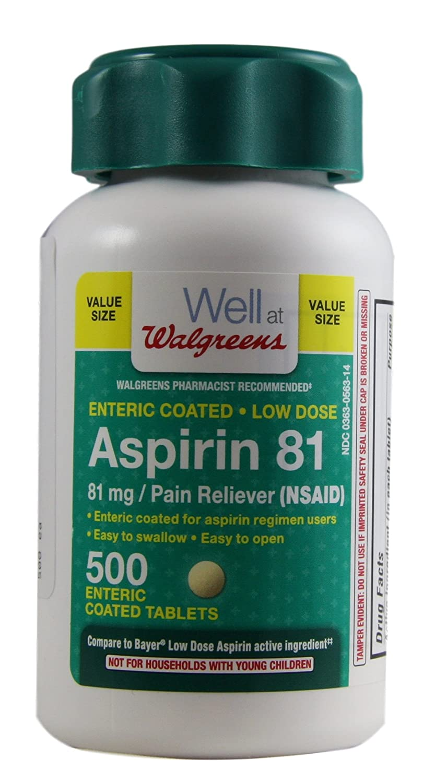 amazon com walgreens aspirin low dose enteric coated tablets 81