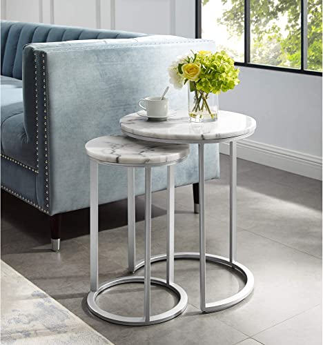Inspired Home Silver End Table – Design Irene Round Natural Marble Top Stackable Metal Base Set of 2