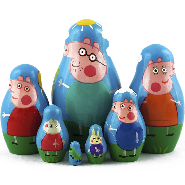 Peppa Pig Nesting Stacking Dolls Matryoshka Toys Set 7 dolls 5.3 in