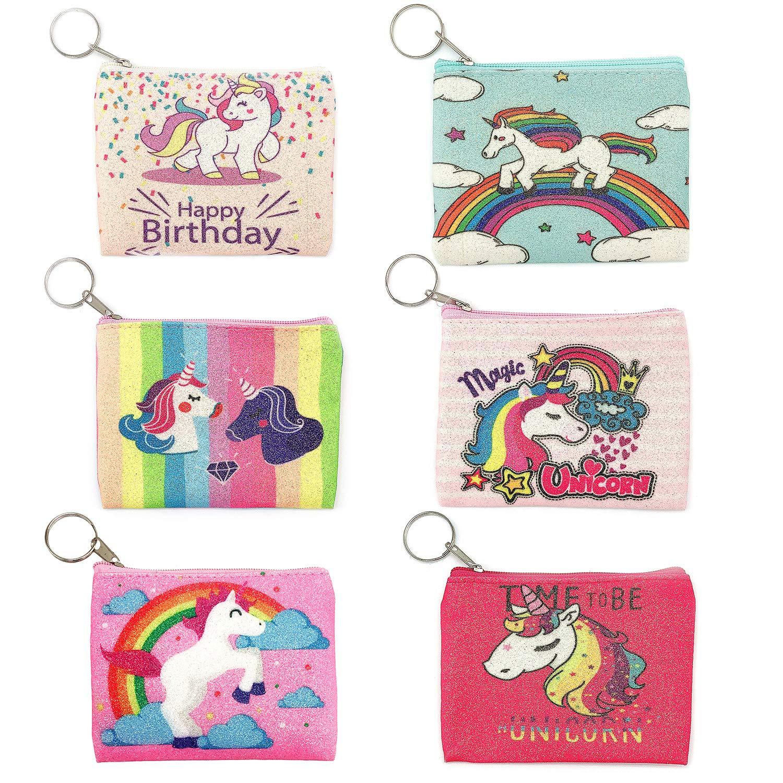 Elesa Miracle 6pc Kids Girl Shining Unicorn Zipper Coin Purse Wallet Value Set