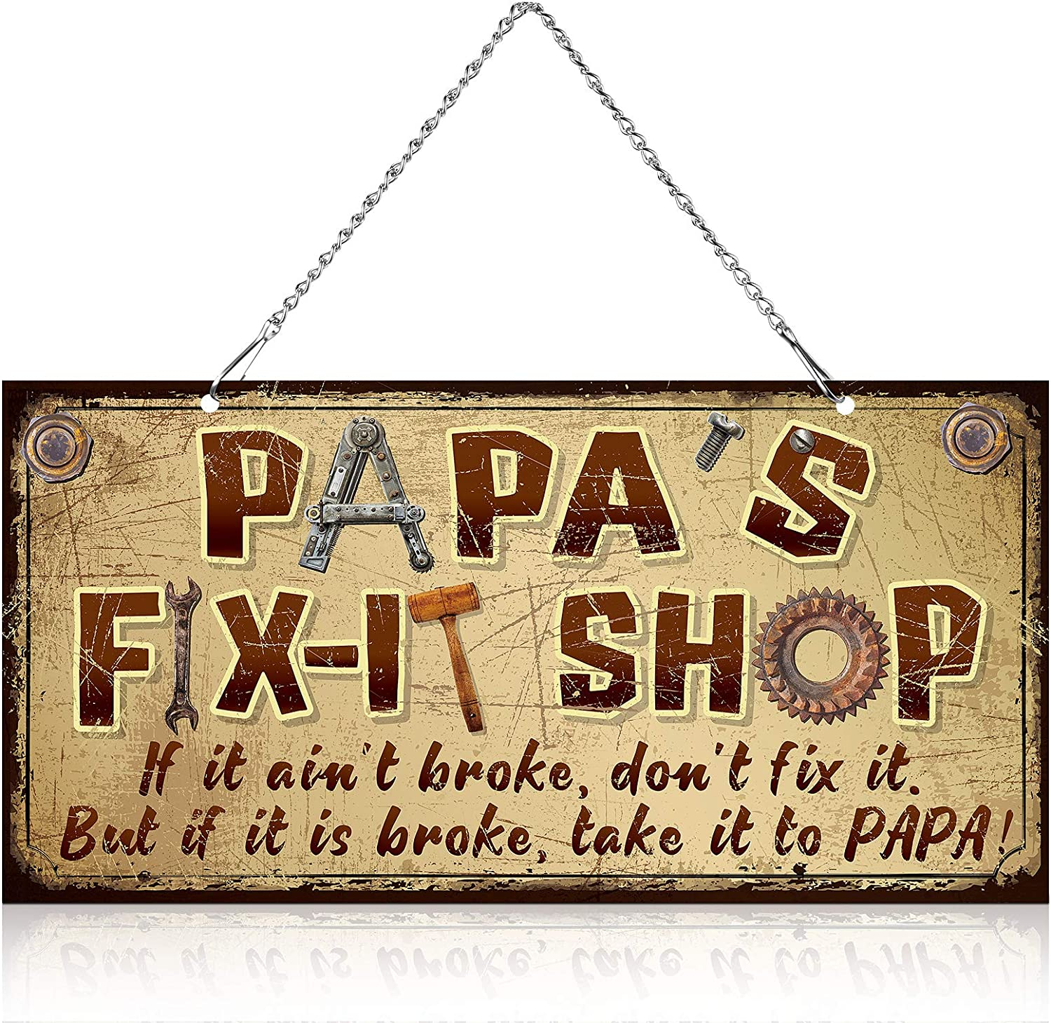 12 x 6 Inch Metal Hanging Vintage Sign Papa's Fix-It Shop, If It Ain't Broke, Don't Fix It, But If It is Broke, Take It to Papa Funny Decorative Saying Signs for Papa Grandpa Father's Day