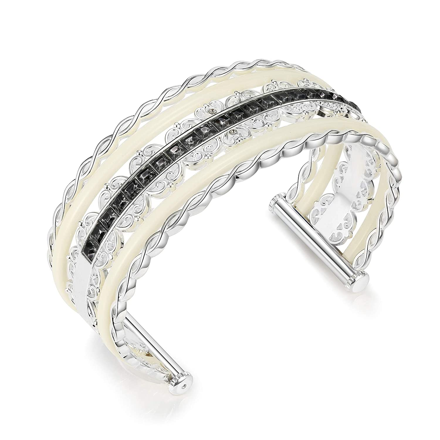 Open Wide Cuff Bangle Bracelet for Women Metal Circle Artistic Hollow Flower Statement Jewelry for Girls