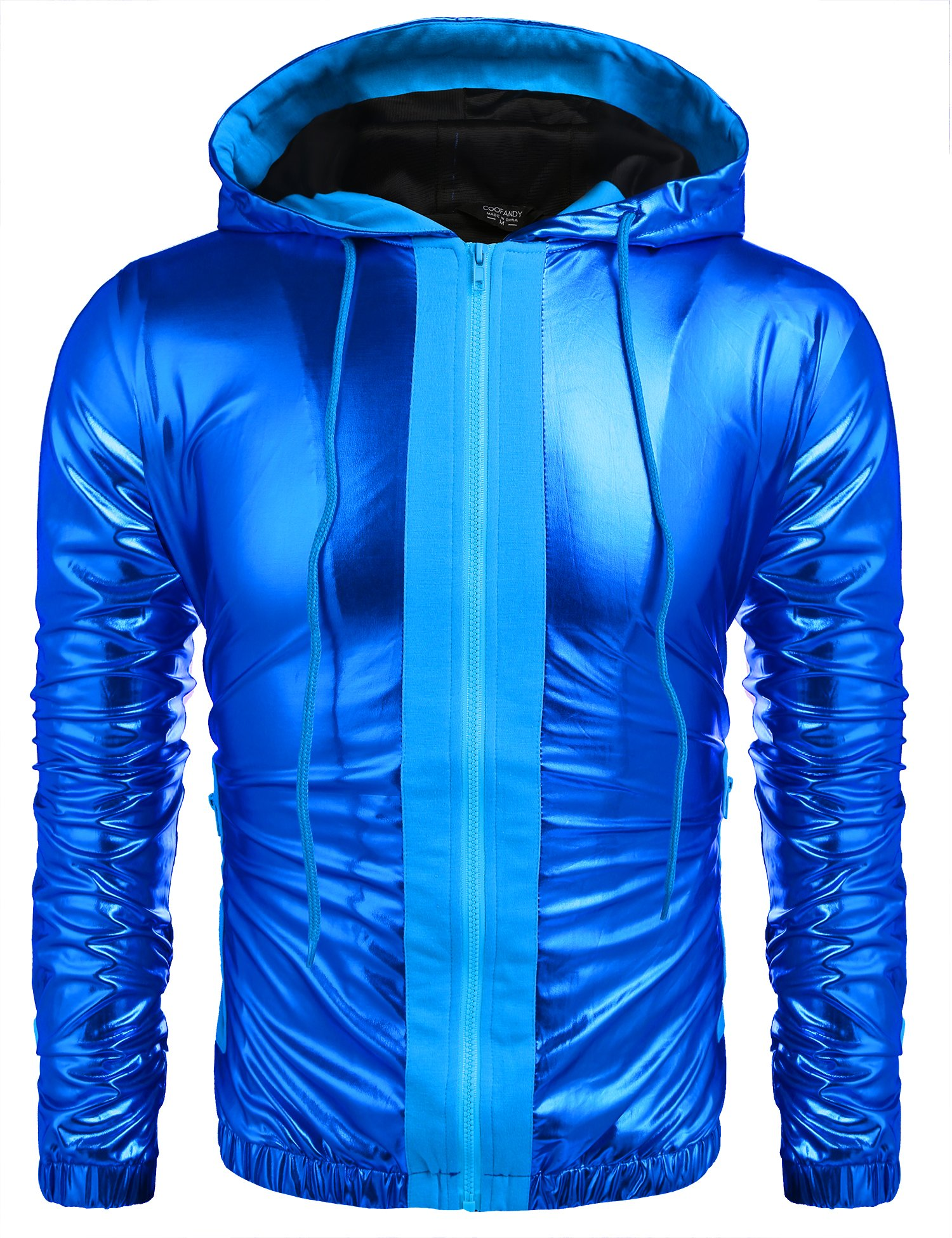 COOFANDY Mens Metallic Nightclub Style Hooded Varsity Baseball Bomber Jacket Golden&Silver&Blue by COOFANDY