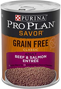 Purina Pro Plan Grain Free, High Protein Wet Dog Food, SAVOR Classic Beef & Salmon Entree - (12) 13 oz. Cans