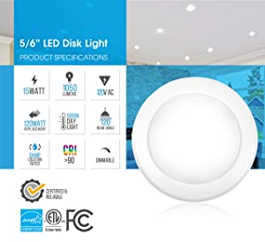 Parmida LED Disk Light Flush Mount Recessed Retrofit Ceiling Lights